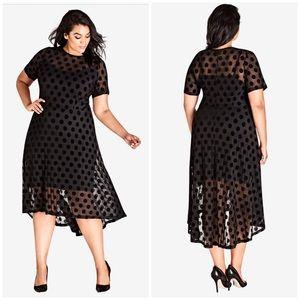 New City Chic Black Hi-Lo Flowy Dress XXL